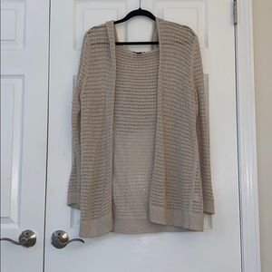 Tan Open Knit Sweater With Attached Hood